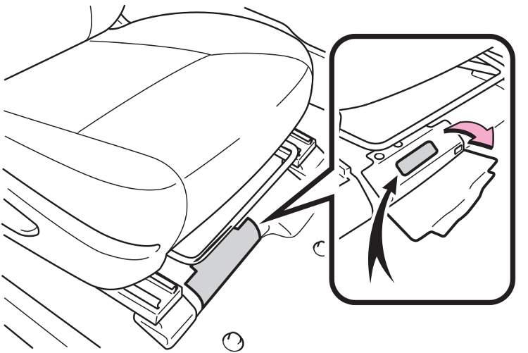 Код модели под правым передним сиденьем